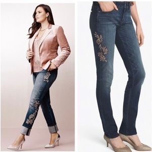 WHBM The slim sequined skinny dark wash jeans